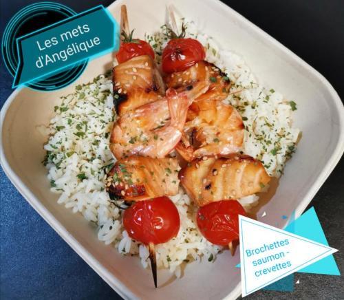 Brochettes saumon-crevettes